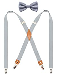 Mens Suspender and Bowtie Set X Back Heavy Duty Adjustable Elastic Clips