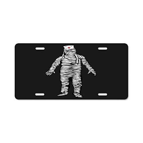 Hongningx Top Craft Case Black Funny Mummy Zombie Nurse Halloween License Plate Auto Car Tag