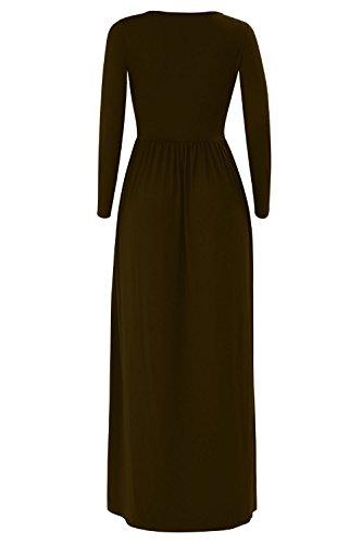 Aecibzo Long Plain Dress Coffee Women Dress Casual Sleeve Loose with Long Maxi Pockets IwI5TSxq
