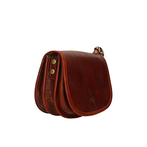 Made hombro Borse cm genuina Marrón 20x15x8 Italy in Piel de Bolsa Chicca en Pd0wqxt0Y