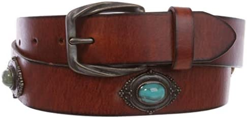 1 1/4 Women`s Western Antique Copper Concho Turquoise Stone Studded Leather Belt