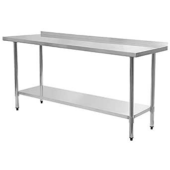 "Giantex Stainless Steel Work Prep Table with Backsplash Kitchen Restaurant (24"" x 72"")"