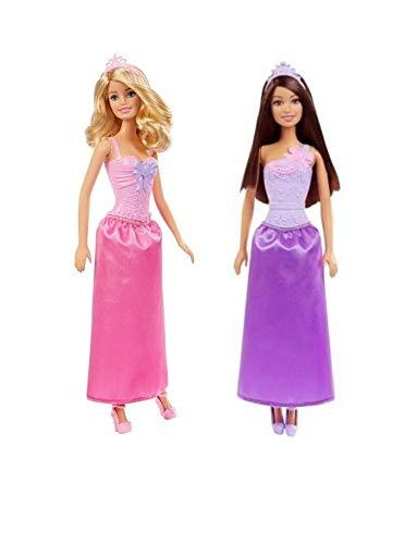 Barbie Princess Two Doll Bundle - 1 Each Purple Skirt Dark Hair Barbie & 1 Each Pink Skirt Blond Hair Barbie