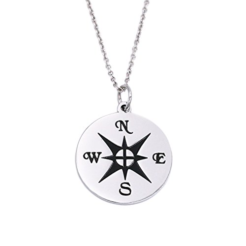 LParkin Compass Necklace, Stainless Steel (Necklace)