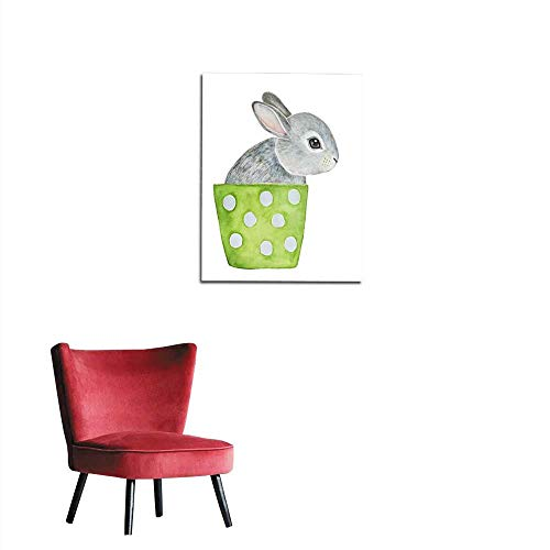 longbuyer Wallpaper Cute Fluffy Little one Grey Bunny Sitting in Lime Green Polka dots Flower Pot Hello Welcome Spring Greeting Card Banner Poster Mural 16
