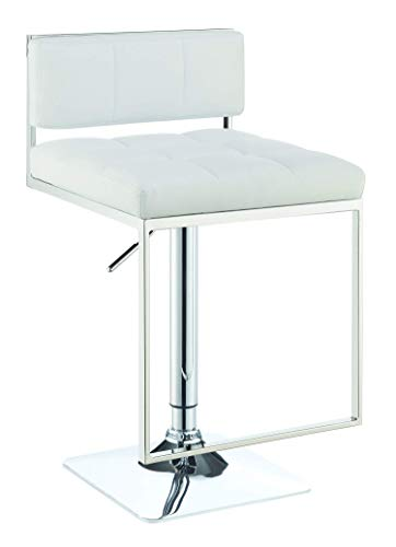 Coaster Contemporary Adjustable Bar Stool with Leatherette Upholstered Seat, White