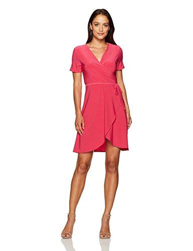 Star Vixen Women's Petite Short Sleeve Ballerina Wrap Dress, Fuchsia, PXL
