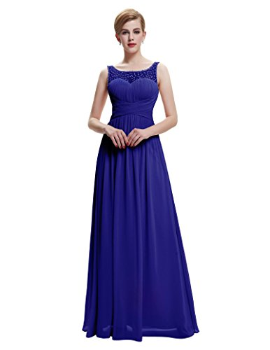 Belle para Largo de Ceremonia Vestido para Vestido Gala de Poque® azul Fiesta de Maxi Mujer sin Mangas Boda wF6HAwqrx