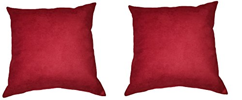 "Price comparison product image Set of 2; Microfiber Faux suede Scarlet Red, 16""x16"" Decorative Envelope Throw Pillow Covers; Fully Assembled in the U.S.A"