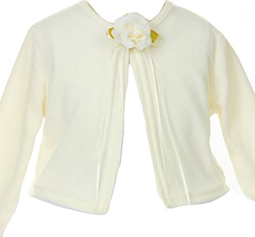 Little Girls Long Sleeve Flower Girl Cardigan Sweater Bolero (13KD3) Ivory 2 by BluNight Collection