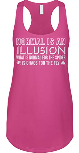 Blittzen Womens Tank Normal is an Illusion - Quote Saying, S, Pink