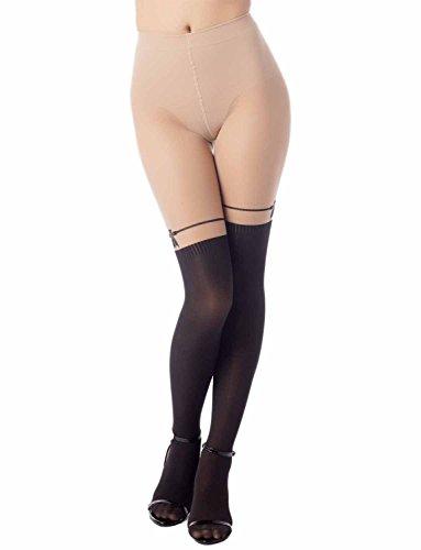 iB-iP Women's garter knee high stocking stitch Mid Waist Sheers Tights Pantyhose, Size: One Size, Beige