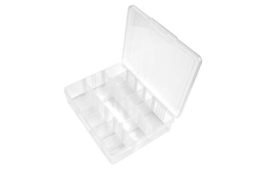 SE 87065DB 14 Compartment Translucent Plastic Storage Container with Adjustable Sections
