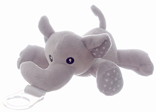 (Premium Pacifier Holder for Boys and Girls - Elliot The Elephant by Little Bennie; Gray Polkadot Stuffed Universal Detachable Pacifier Holder for Infants, Babies and Toddlers - Pacifier Not Included)