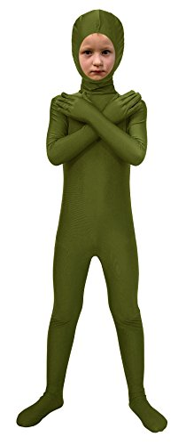 Sheface Spandex Face Out Second Skin Zentai Full Body Costume (Medium, Army Green) -