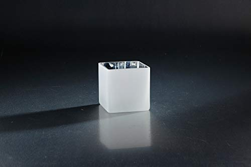 (CC Home Furnishings Frosted White Glass Tabletop Square Vase 4