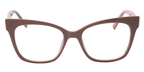 SOOLALA Vintage Stylish 53mm Lens Oversized Reading Glass Big Eyeglass Frame, Khaki, - Sunglasses Blonde Womens