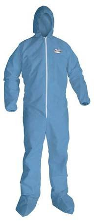 Coverall w/Hood/Socks, Blue, 2XL, HRC1, PK25