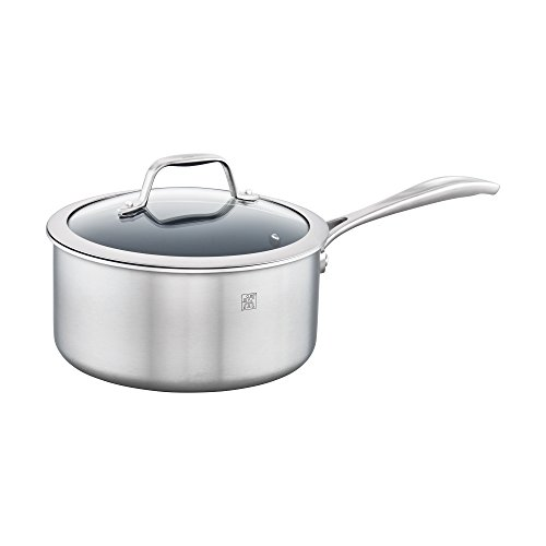 y 3-qt Stainless Steel Ceramic Nonstick Saucepan (Spirit Stainless Steel)