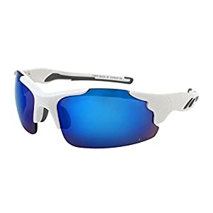 Edge I-Wear Men's Semi-Rimless Sport Safety Sunglasses w/ANSI Z87+ 570079/REV-1(WHT.buwht)