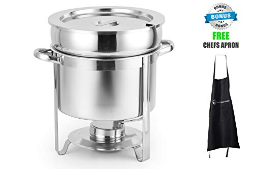 Contemporary Stainless Chafing Dish - 11 Qt Soup Chafer Stantion With Water Pan Contemporary Marmite, Includes Fuel Holder