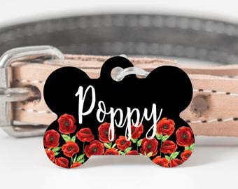 Poppy Dog Tag, Red Poppy Pet Id Tag, Novelty Dog Tag, Poppy Flower Collar Tag, Anzac Day Dog Tag, Red Floral Dog Tag, Spring Dog Tag for Dogs