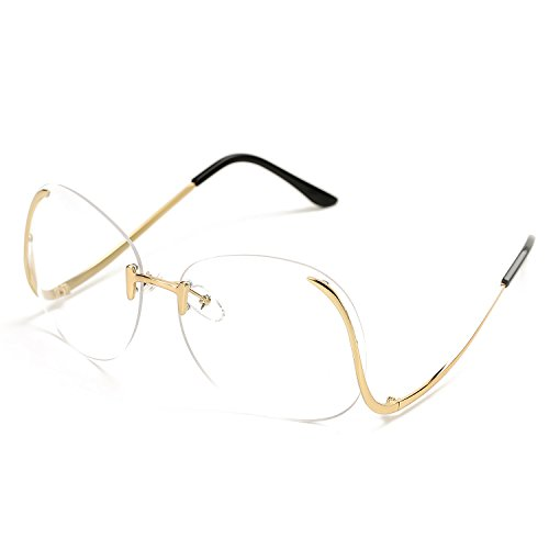 Pro Acme Fashion Vintage Oversized Clear Lens Women's Rimless Sunglasses (Clear/Coating Lens, As - Clear Sunglasses Rimless