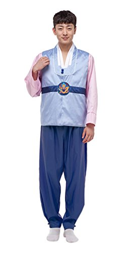 The Korean Traditional Costume (Lemail Wig Korean Traditional Costume Hanbok Men Set CC564C-L(L, 3))