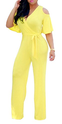 Womens Cut Out Lace Jumpsuits (Yellow) - 7