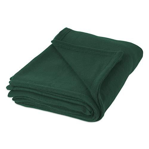(Hebel Luxury Solid Fleece Blanket Throw, Full/Queen 90x90, Ultra Soft Cozy Warm Plush Fuzzy for Bed, Couch, Sofa, Camping, Beach-Dark Green | Model BLNKT - 9 | 77Full/Queen)