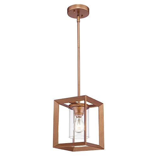 Light Copper Pendant (Emliviar Modern Mini Pendant Light, Indoor Glass Hanging Light Fixture, Antique Gold Finish with Clear Glass Shade, 3045M1L)