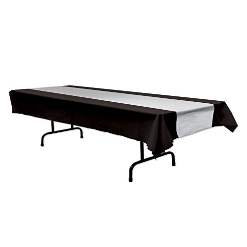Beistle 57940-BKS Black and Silver Tablecover, 54 Inches by 108 Inches