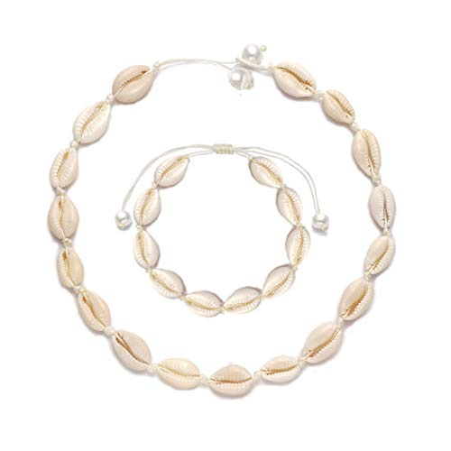HSWE Shell Choker Necklace for Women Seashell Necklace Adjustable Puka Beaded Handmade Hawaiian Beach Summer Jewelry (Shell Necklace anklets Set#1)