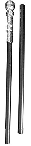 Bristol Novelty Black Walking Cane with Silver Handle