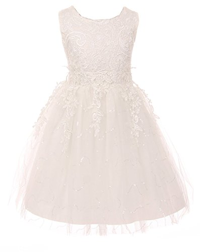 BNY Corner Big Girl Kids Sleeveless Floral Lace Tulle Summer Flower Girls Dress Off White 8 3XL 900273 ()