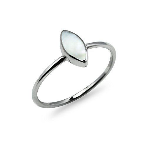 White inlay Ring Sterling Silver- Marquise Shaped Friendship Promise Band Ring Size 7 (Abalone White Ring)