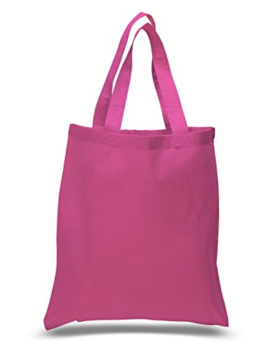 Set of 12 Wholesale Cotton Tote Bags 100% Cotton Reusable Tote Bags 1 Dozen (12 Pink Tote Bags)
