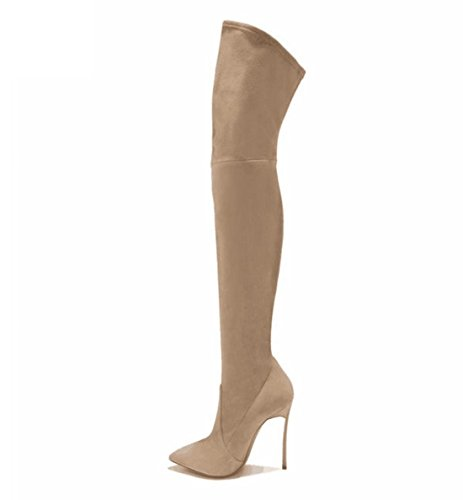 XDGG Women'S Fashion New Ladies 35-43 Large Size Pointed High-Heeled Knee-Length Boots , apricot , 34
