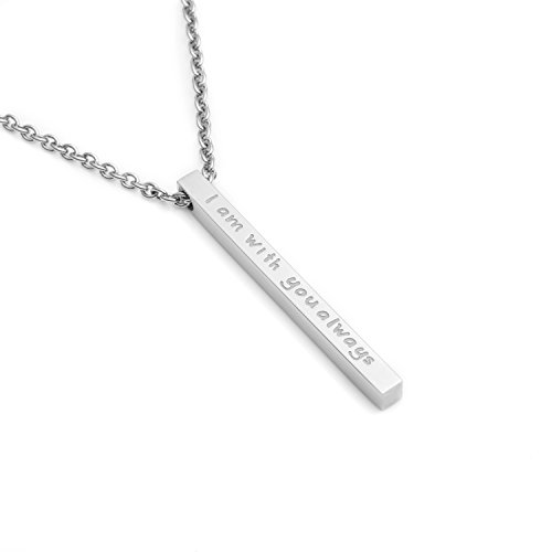 Joycuff Christian Necklace for Friends Bible Friendship Bar Pendant for Women Girl Family Engraved I Am with You Always(Silver) ()