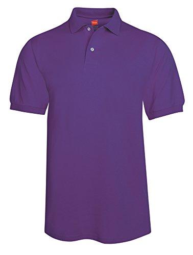 Hanes Mens Cotton-Blend EcoSmart Jersey Polo 054X, XL, Purple (Classy Outfits For Men)