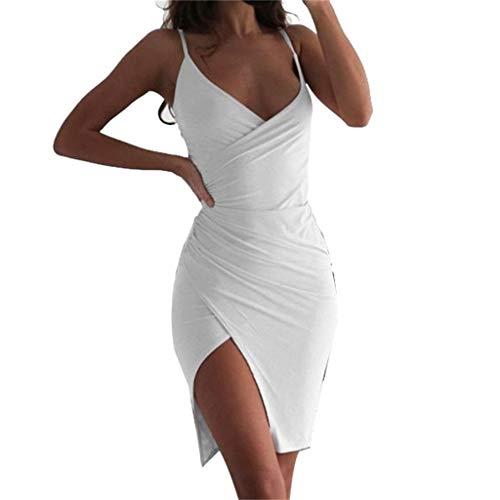 Clothful  Women Dress, Women's Summer Fashion Sexy Halter Dress Mini Dress V-Neck Sling Slim Dress White