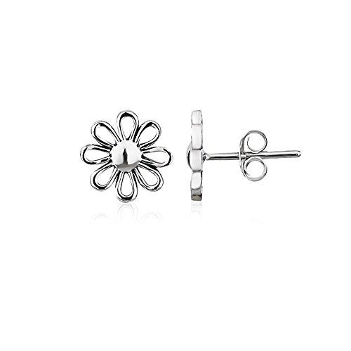 925 Sterling Silver Simple Multi Petal Daisy Flower Minimalist Stud, Friction Backing Earrings, 10mm