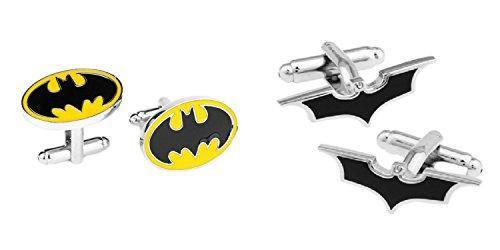Superheroes DC Comics Batman and Bat Logos (2 Pair) Cufflinks (Batman Logo Cufflinks)