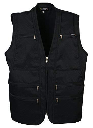 Beat the World Men's Multi-pocketed Gilet Safari Waistcoat 9 Pockets Size Small to Xl (M, Black)