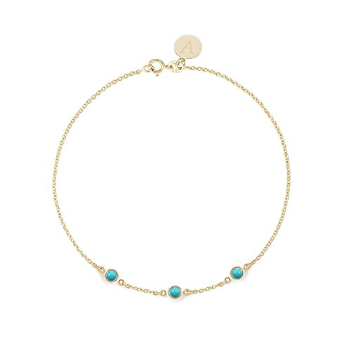BallucciToosi Turquoise Bracelet - Real 14k 18k Solid Yellow Rose White Gold - Round bezel set Solitaire Charm - Blue Turquoise Charm personalized for Women - Free Initials Engraving by Ballucci&Toosi Goldsmith