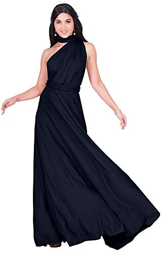 KOH KOH Womens Long Bridesmaid Multi-Way Wedding Convertible Wrap Infinity Cocktail Sexy Summer Party Formal Prom Transformer Gown Gowns Maxi Dress Dresses, Dark Navy Blue L 12-14