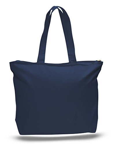 Zip Top Heavy Canvas Tote Bag with Bottom Gusset, Navy, Set of 1