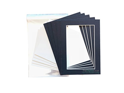 THE DISPLAY GUYS 5x7 Pack of 25 Textured Dignity Blue Picture Photo Matting Mat Boards + Backing Boards + Clear Plastic Bags Complete Set -