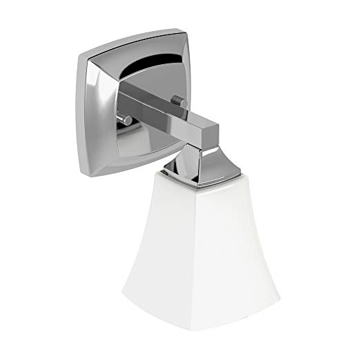 Moen YB5161CH Voss Collection 1 Dual-Mount Bath Bathroom Vanity Light Fixture with Frosted Glass, Chrome