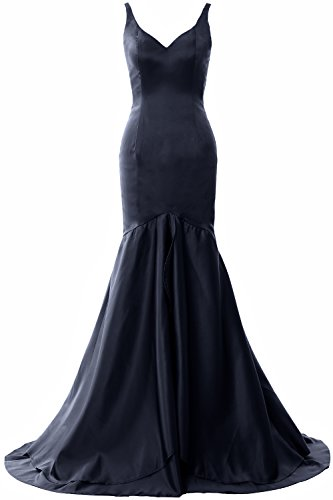 Satin Long Neck Tiered Evening Dark Macloth Women Navy Gown Formal Dress V Mermaid Prom xHBFfgI